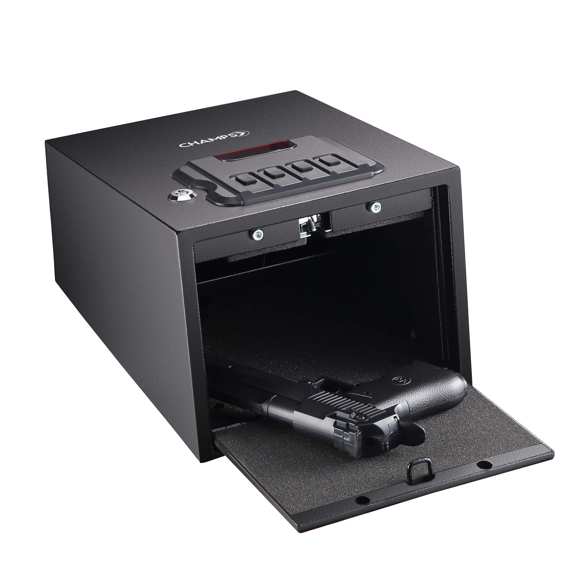 Champs Gun Safe Solid Steel Quick Access Electronic Pistol Safe with Auto-Open Lid, Wall Mount Bracket, Anti-Thief Alarm System