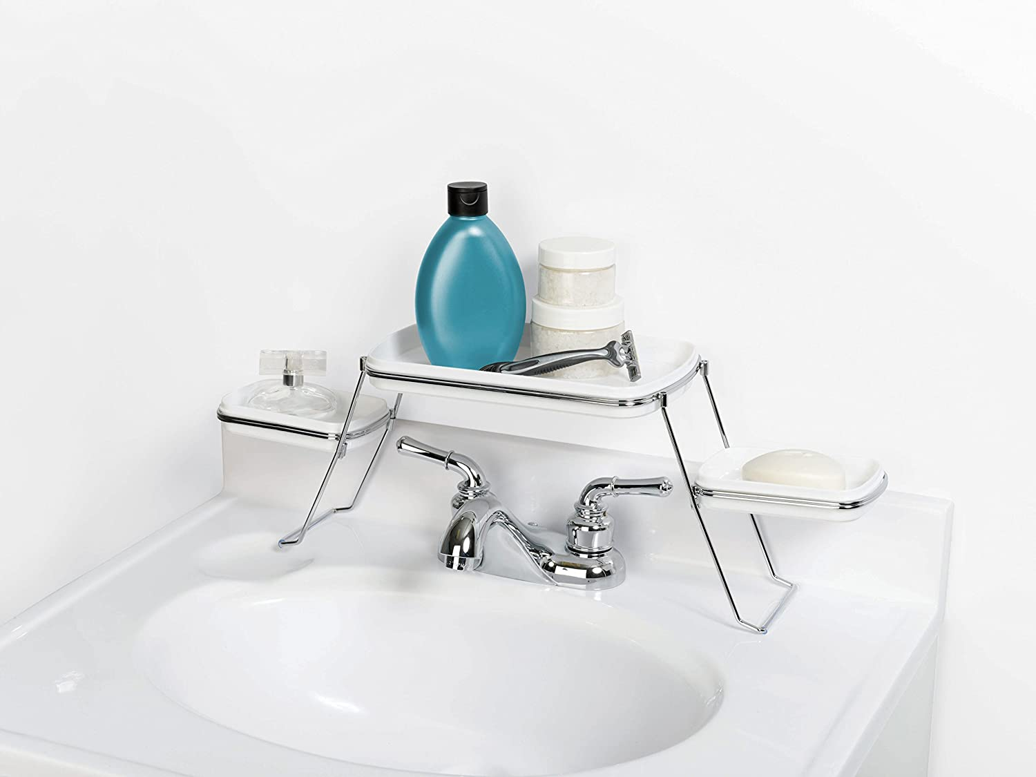 Amazon.com: Zenna Home 8665SWP, Over-the-Faucet Shelf, White/Chrome ...