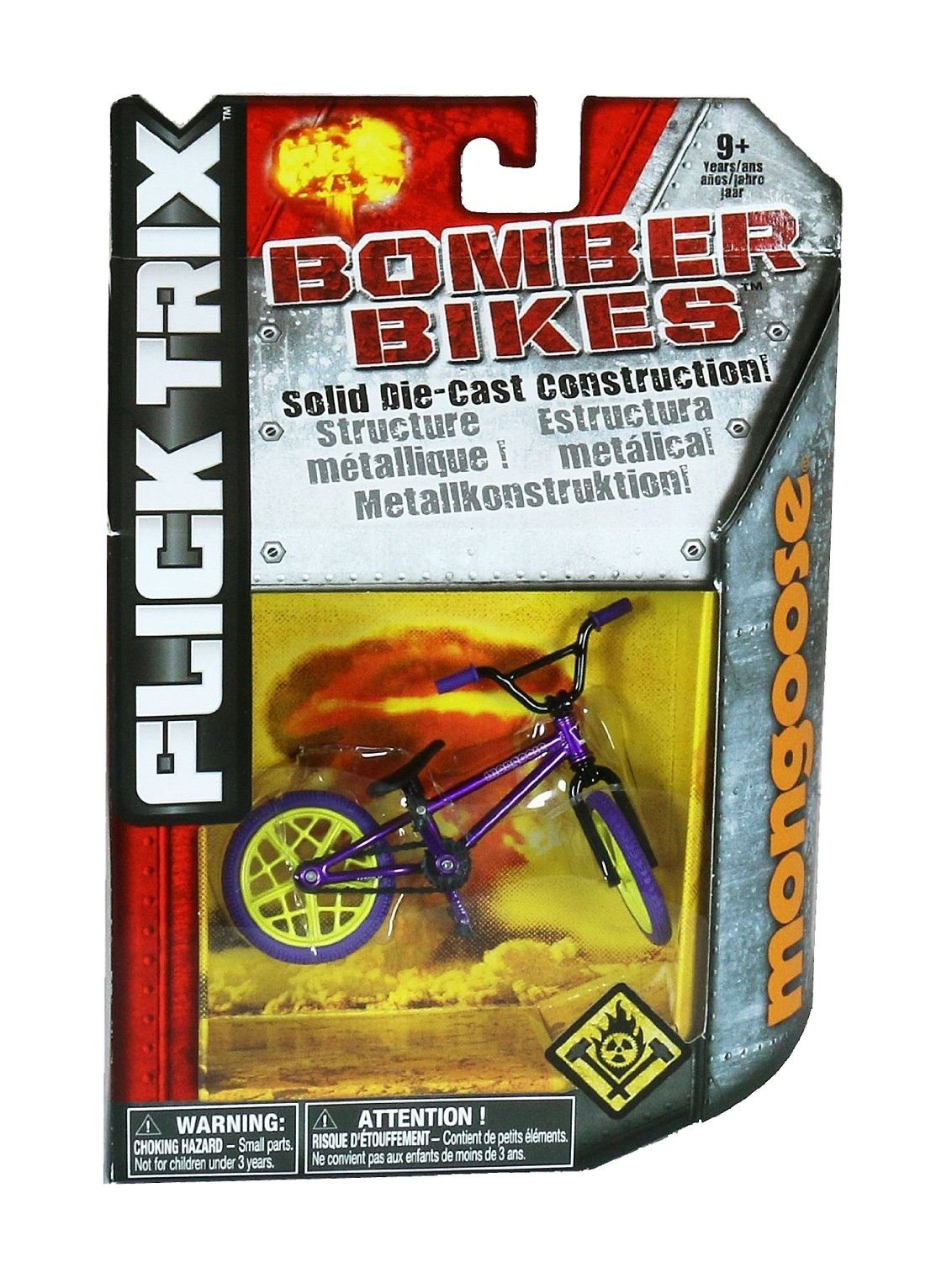 Flick Trix Die-cast Bomber Bikes - Mongoose (Purple, Yellow, Black) by Spin Master