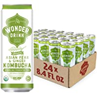 Wonder Drink Kombucha, Organic Asian Pear and Ginger Sparkling Fermented Tea, 8.4oz Can (Pack of 24)