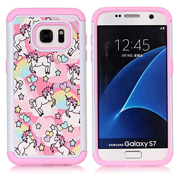 new products 2a366 bdacb Galaxy S7 Case, S7 Case, Rainbow Unicorn Patchwork Pattern Shock-Absorption  Hard PC and Inner Silicone Hybrid Dual Layer Armor Defender Protective ...