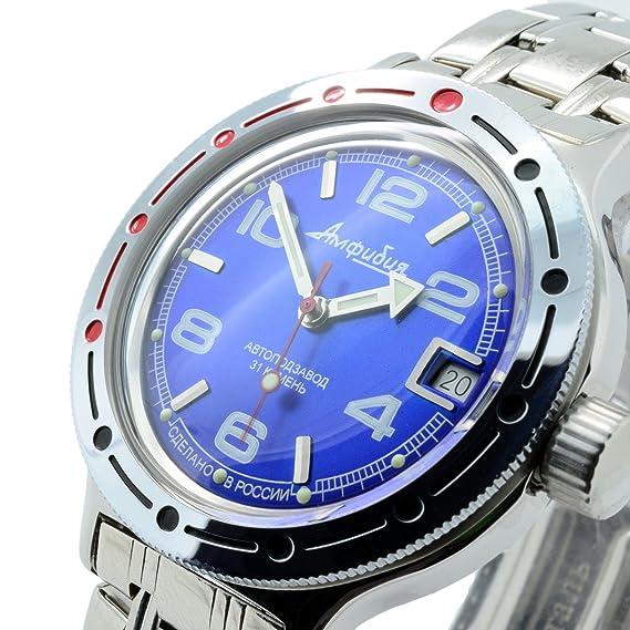 Vostok Anfibios 420432/2416b Militar ruso buceo reloj 200 M Auto azul marino: Amazon.es: Relojes