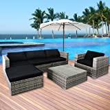 Cloud Mountain 6 Piece Rattan Wicker Furniture Set Outdoor Patio Garden Sectional Sofa Set, Black Cushions and Gray Rattan