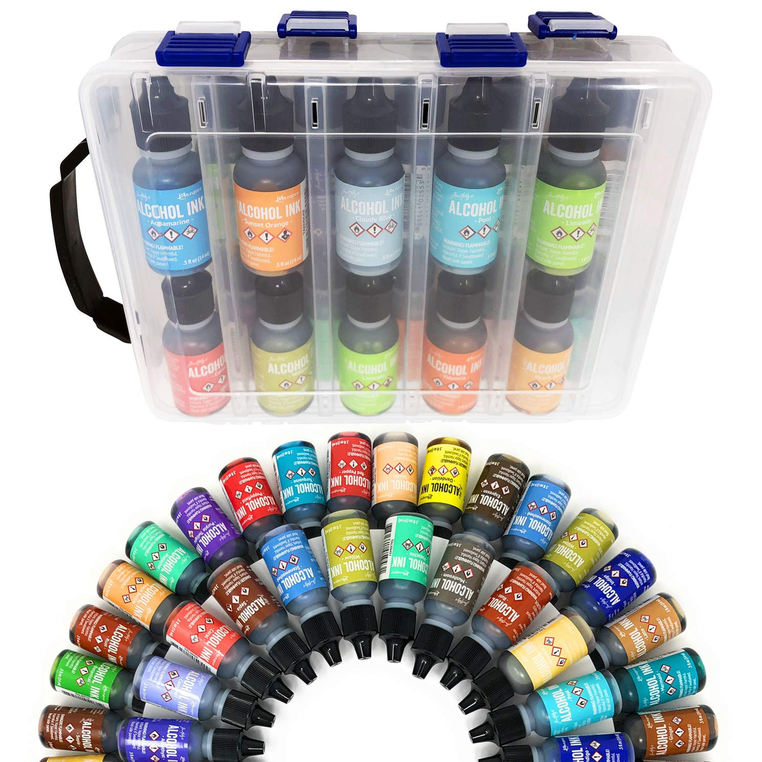 20x Tim Holtz Alcohol Ink .5oz Bottles (Assorted Colors), Pixiss Alcohol Ink Storage Carrying Case Organizer, Stores 20x 0.5-Ounce Bottles of Alcohol Ink, Stickles, Glossy Accents or Reinkers