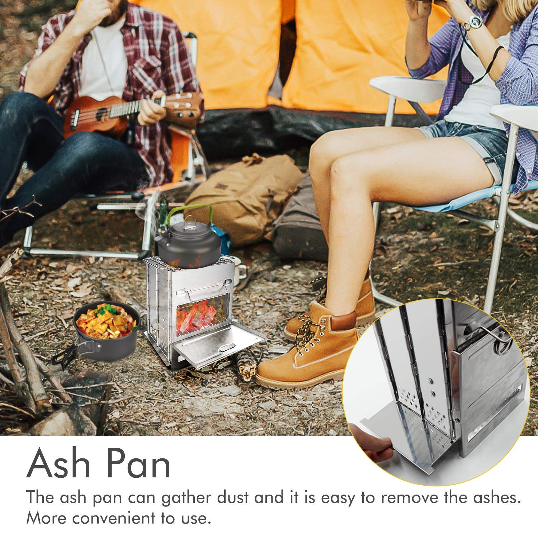 Mini BBQ Grill mit Edelstahl Kohlegrill Falten Holzofen Tragen Tasche f/ür Backpacking Wandern Camping Kochen,Silver