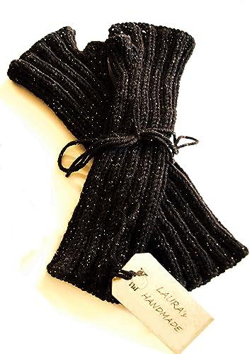 Manicotti neri da donna in pura lana vergine con delicati fili di lamè 77d02d8d1c3d
