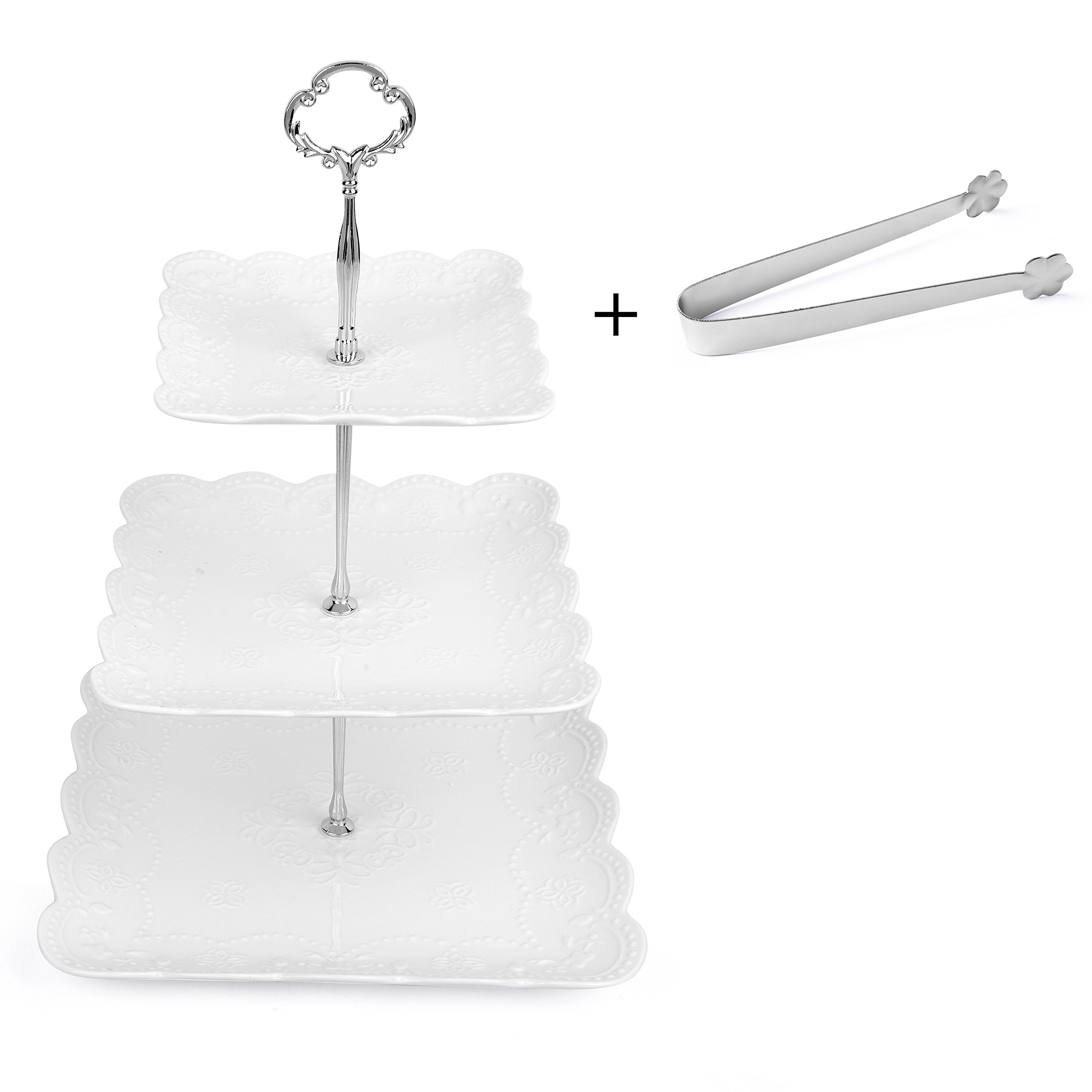 3 Tier Square Porcelain Cake Stand with Sugar Tongs - Party Food Server Display Set - Three Tier Dessert Stand - Perfect for your Tea Party, Baby Shower and Dessert Table - (White)