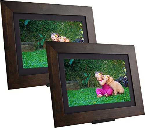 PhotoShare Friends and Family Smart Frame Digital Photo Frame, Send Pics from Phone to Frame, WiFi, 8 GB, Holds Over 5,000 Photos, HD, 1080P, iOS, Android 10.1 2-Pack , Espresso