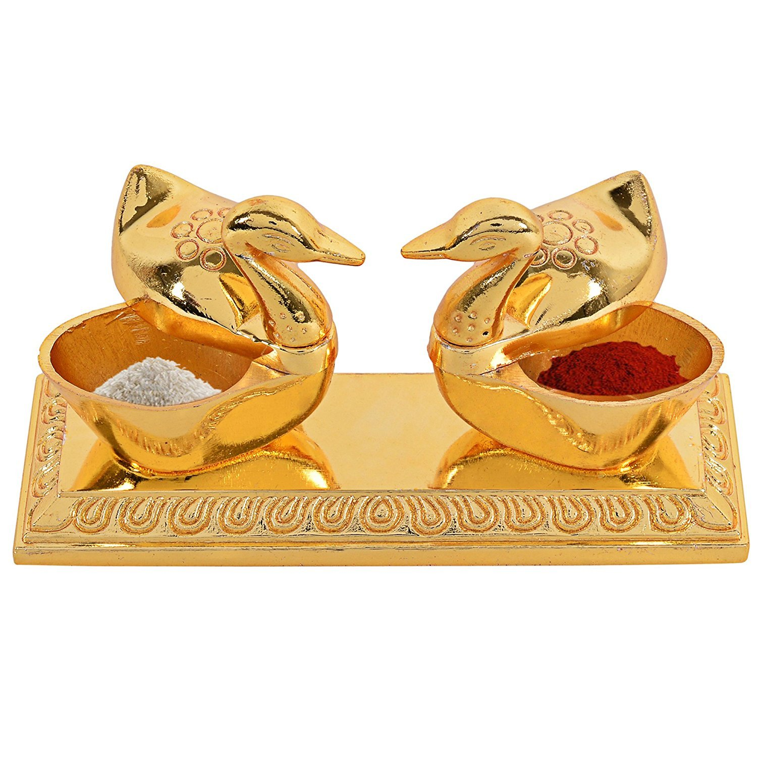WGF Golden Metal Love Bird Duck with Chandan Roli Chopda Pair for Gift and Pooja Purpose