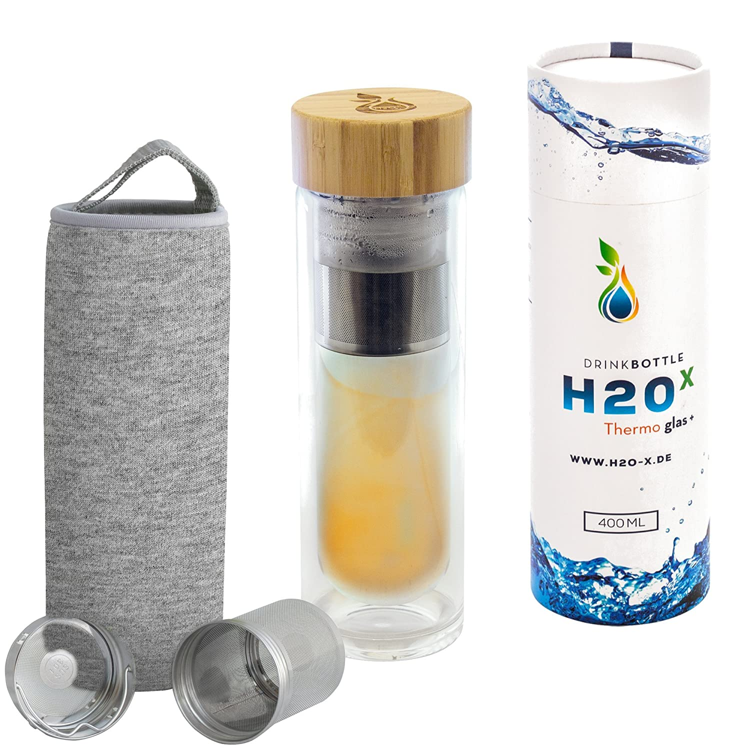 Teiera Set H2O-X | Tea to go bottiglia di vetro a doppia parete con colino da tè Thermo tazza incluso custodia copertura isolante & | Borraccia Termica Bottiglia Tea Maker bicchiere di vetro isolante Travel Mug Infused Water 400 ml Blau Magnus-Trade
