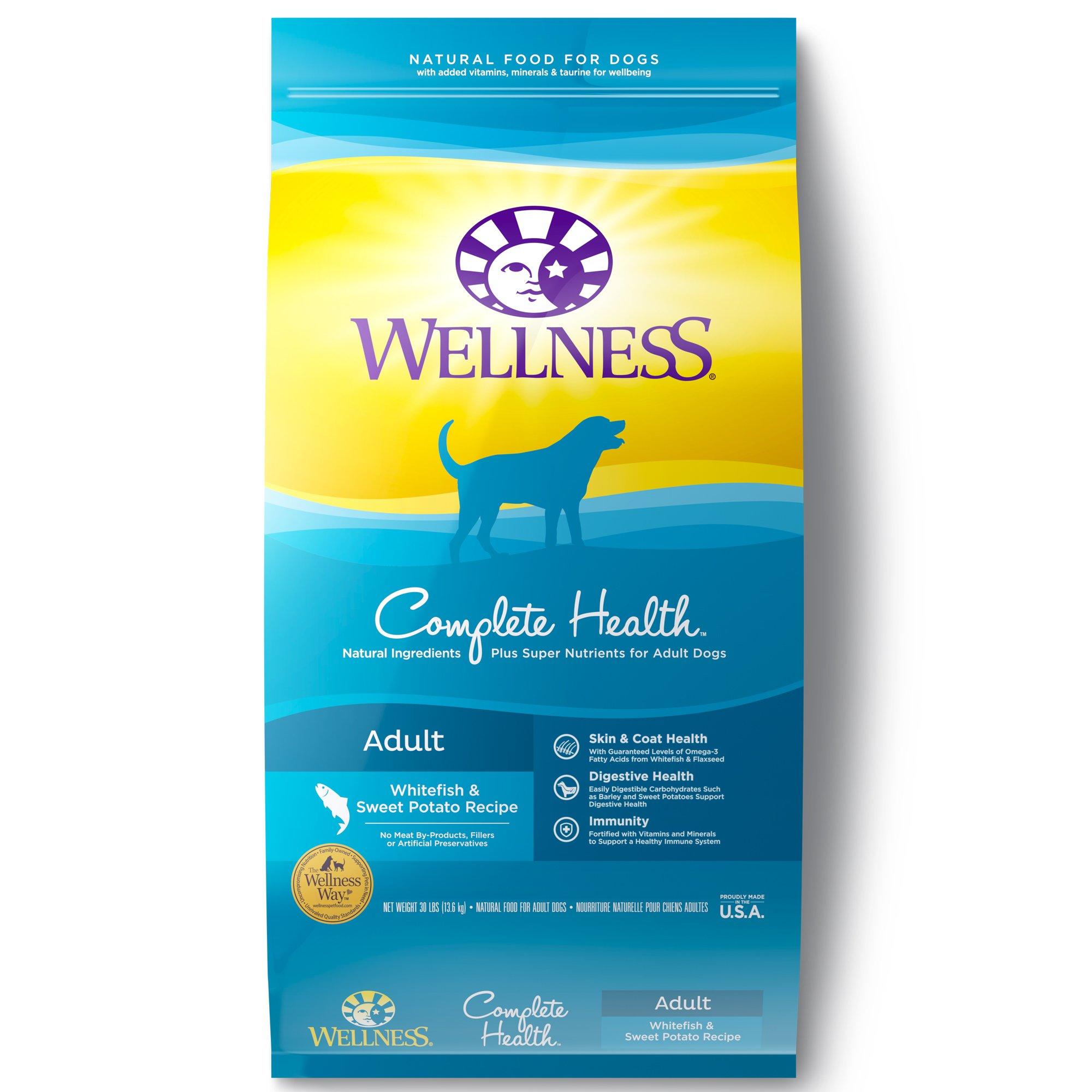 Wellness Complete Health Natural Dry Dog Food, Whitefish & Sweet Potato, 30-Pound Bag