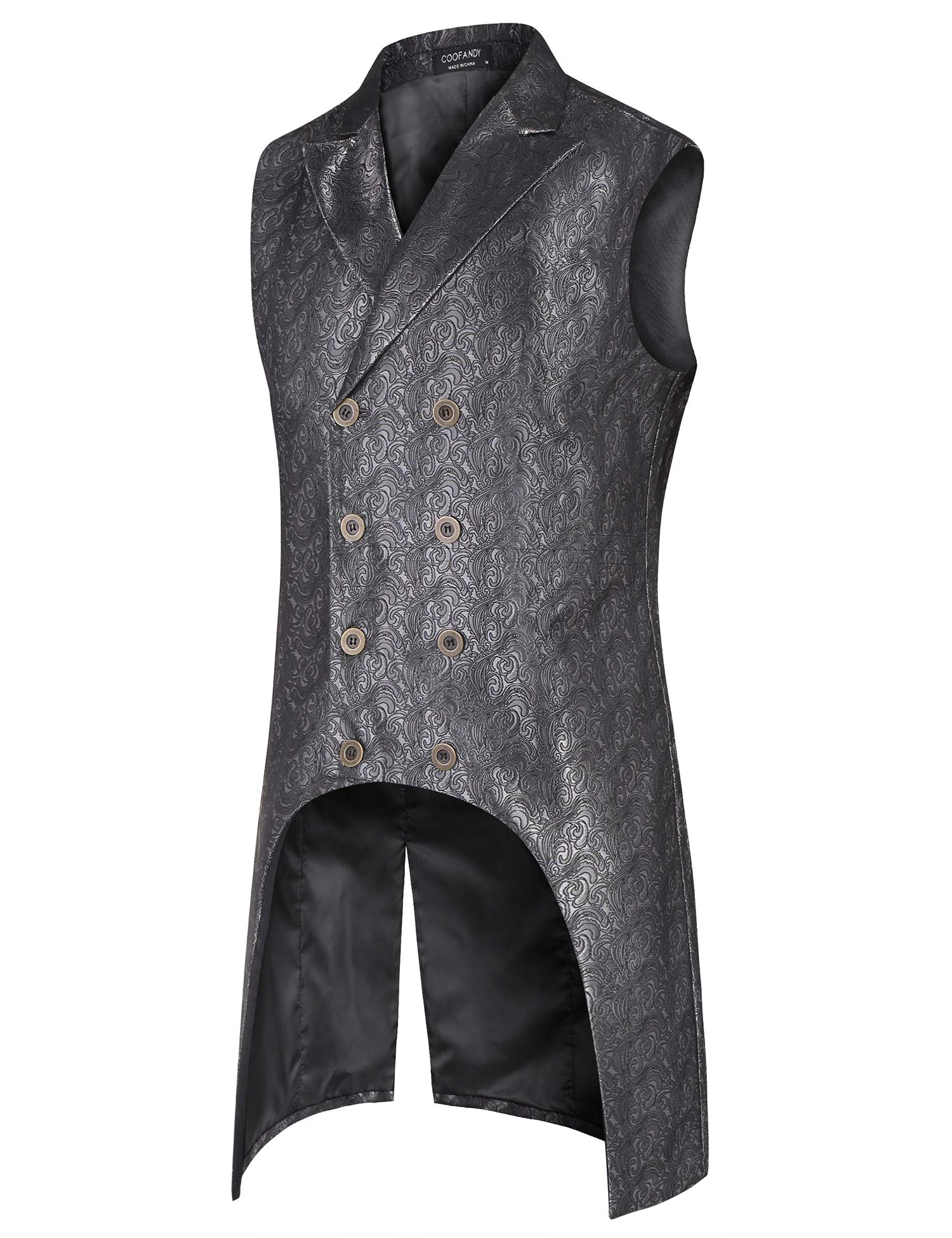COOFANDY Mens Gothic Steampunk Vest Slim Fit Sleeveless Tailcoat Jacquard Brocade Double Breasted Waistcoat 4