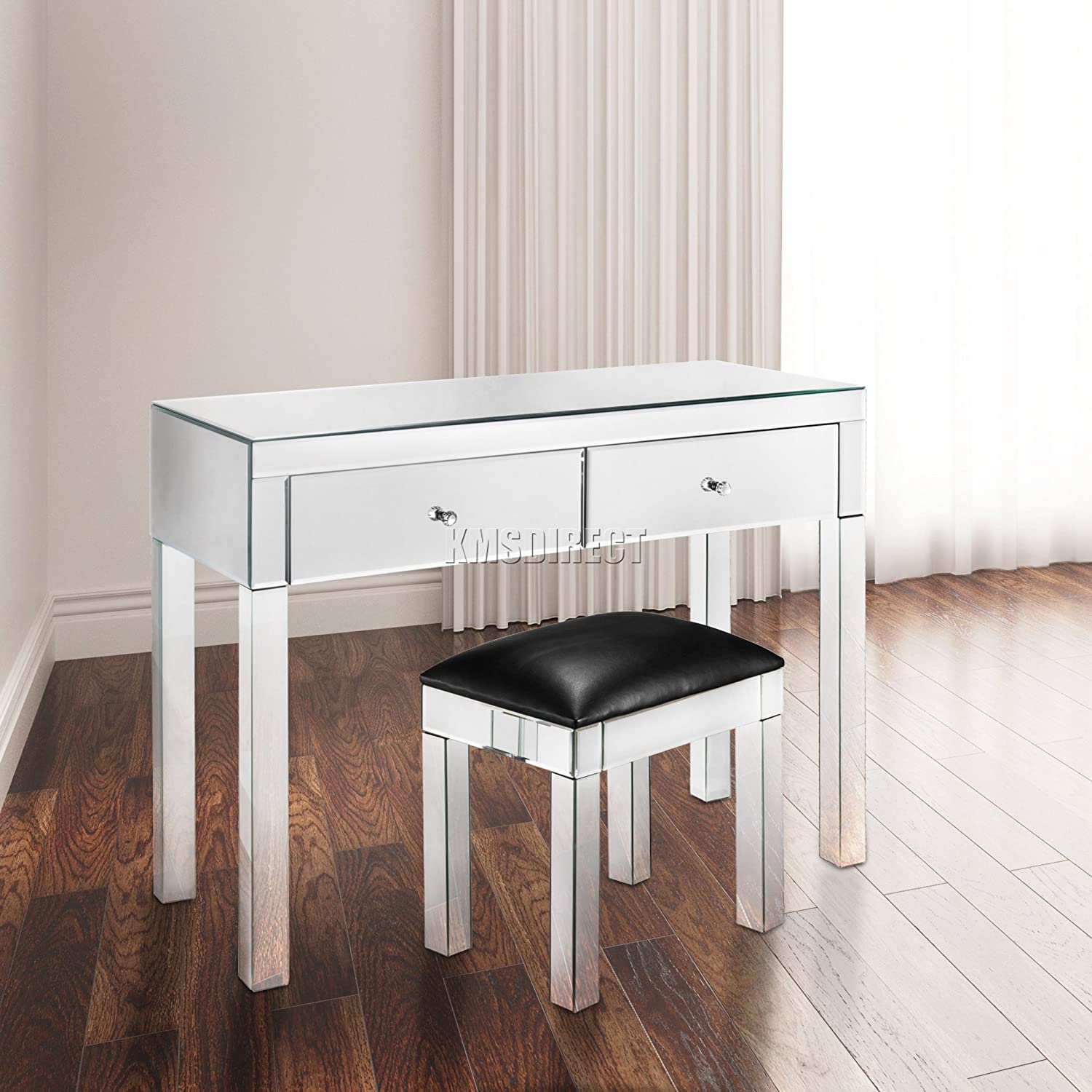 Mirrored Furniture Living Room Foxhunter Mirrored Furniture Glass 4 Drawer Chest Cabinet Table