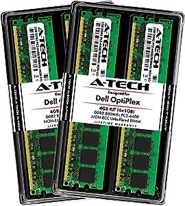 A-Tech 4GB (4X 1GB) Memory RAM Kit for Dell OptiPlex 960, 760, 755, 745, 740 (MT, DT, SFF) - DDR2 800MHz PC2-6400 Non-ECC DIMM Modules