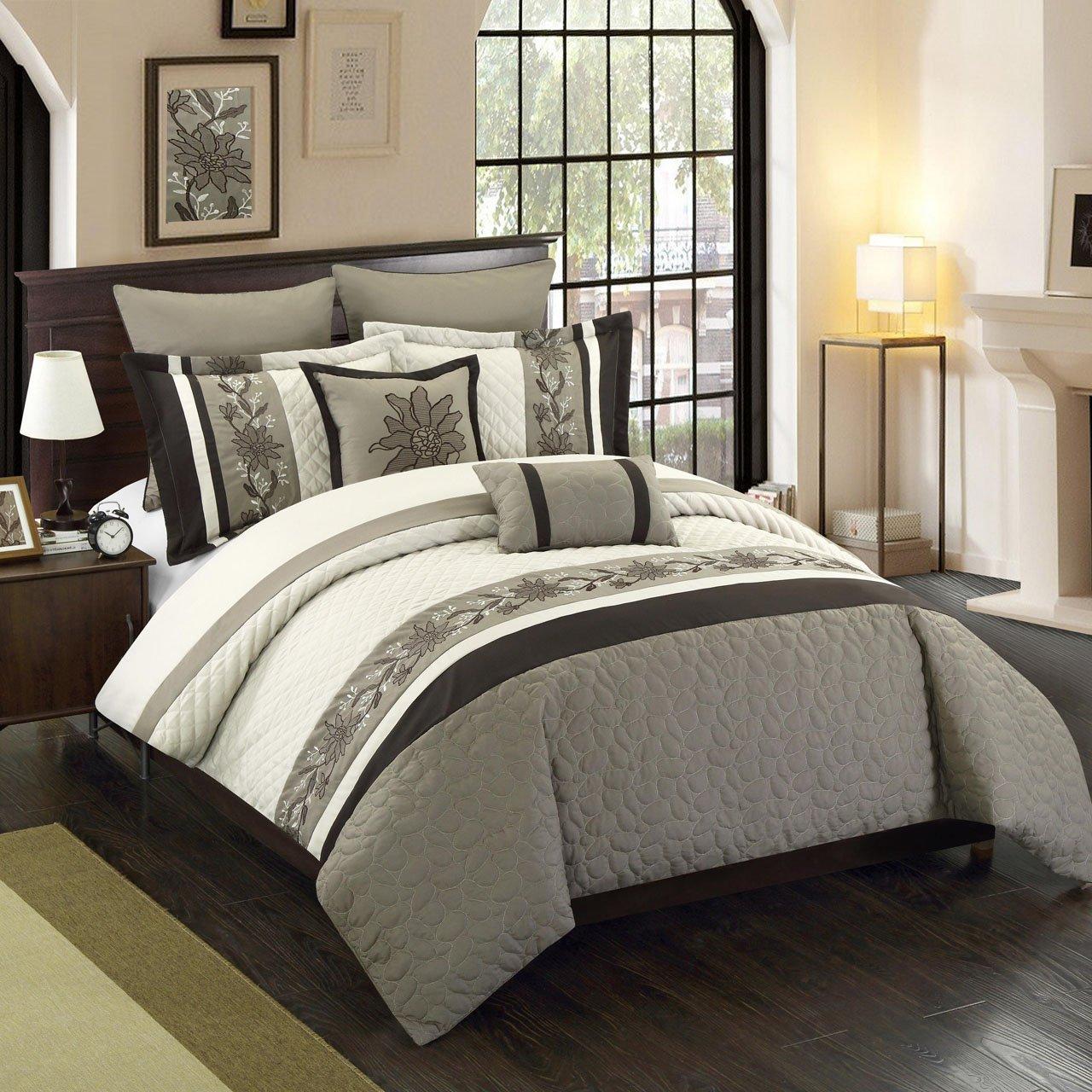 8 Piece King Antwerpen Beige/Taupe/Coffee Comforter Set