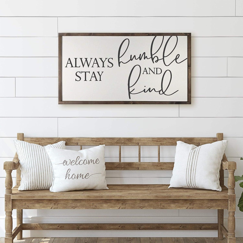farmhouse home decor Humble and Kind framed wood sign