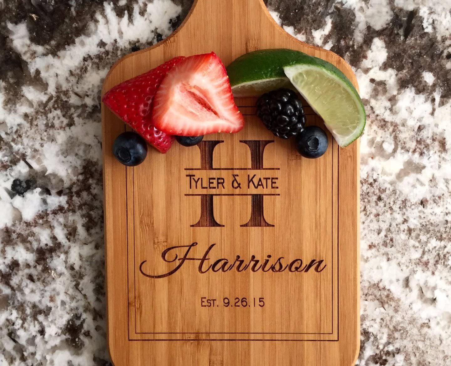 Qualtry - Personalized Mini Wood Cutting Boards - Perfect Gifts For Weddings, Bridal Showers, and Housewarmings - (5 x 11 Bamboo Paddle Shaped, Harrison Design)
