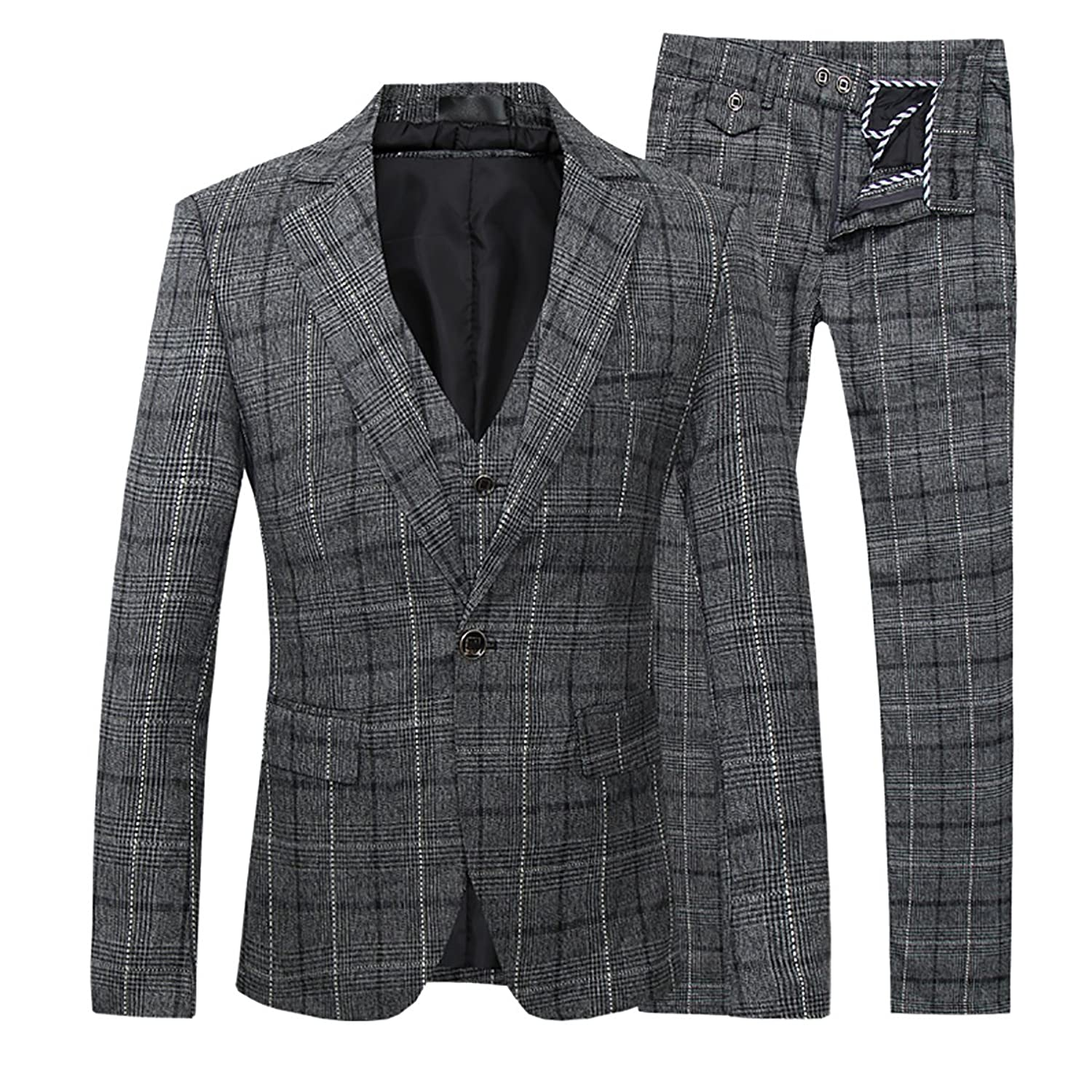 1920s Mens Suits | Gatsby, Gangster, Peaky Blinders Mens 3-Piece Suit Plaid Modern Fit Single Breasted Smart Formal Wedding Suits $84.99 AT vintagedancer.com