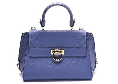 3d4336814004 Salvatore Ferragamo Sofia Leather Satchel Handbag 21 E530 22 Blue ...