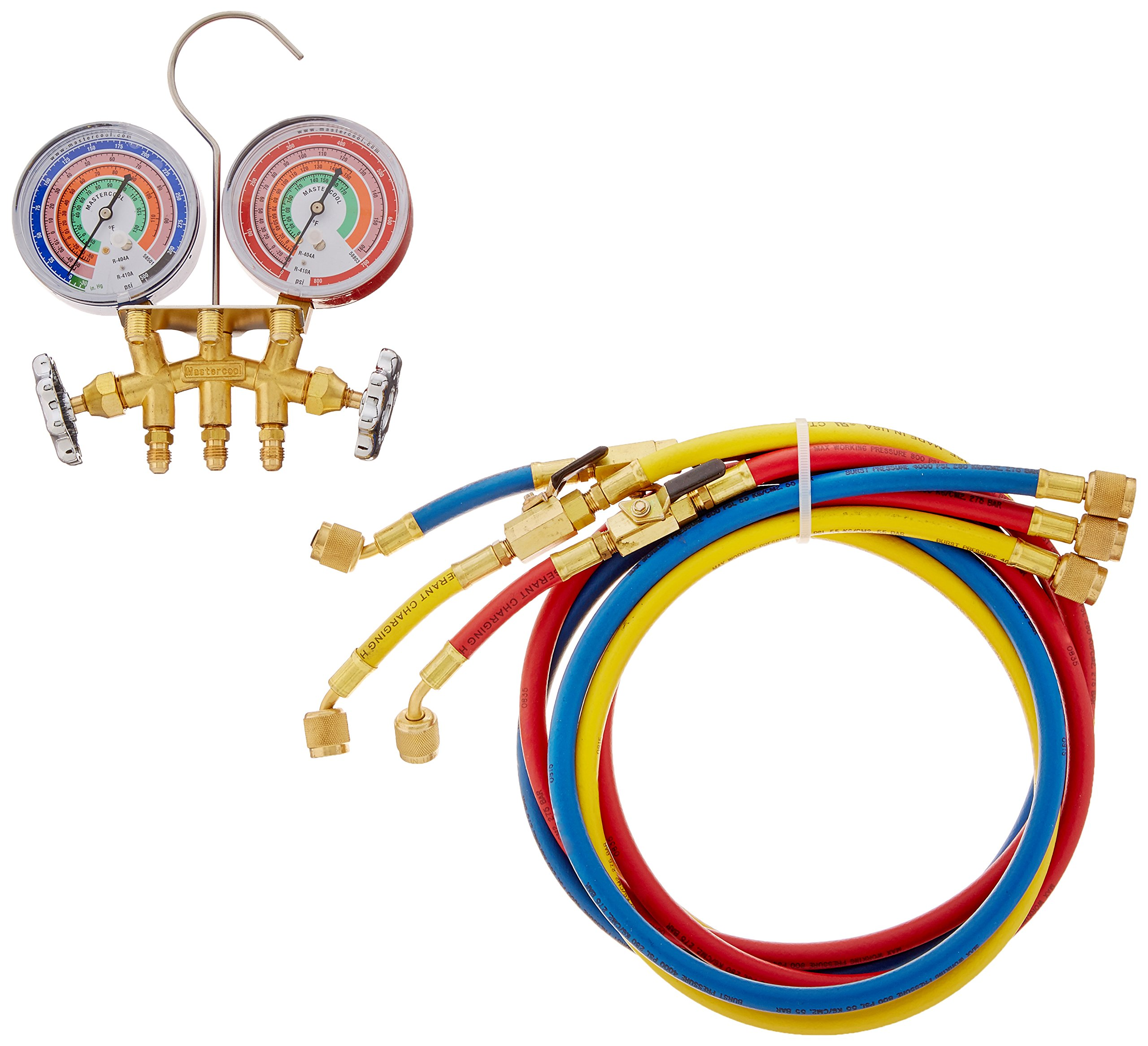 Rheem 59161 Rubber Manifold, Brass 2-Way, R, 22/R, 404A/R, 410A with Premium Hoses, 5 ' Length