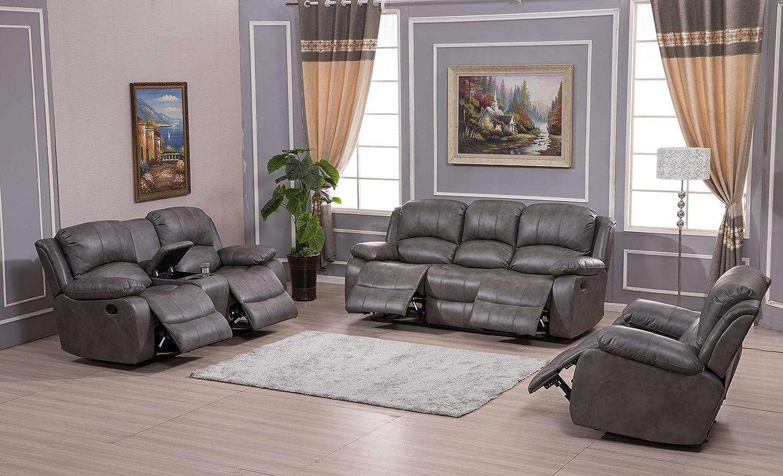 Betsy Furniture 3PC Bonded Leather Recliner Set Living Room Set, Sofa Loveseat Chair Pillow Top Backrest and Armrests 8018 (Grey, Living Room Set 3+2+1)
