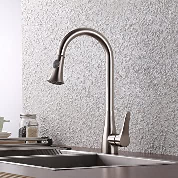 KES Brass Pull Down Kitchen Faucet Brushed Nickel Modern Single ...