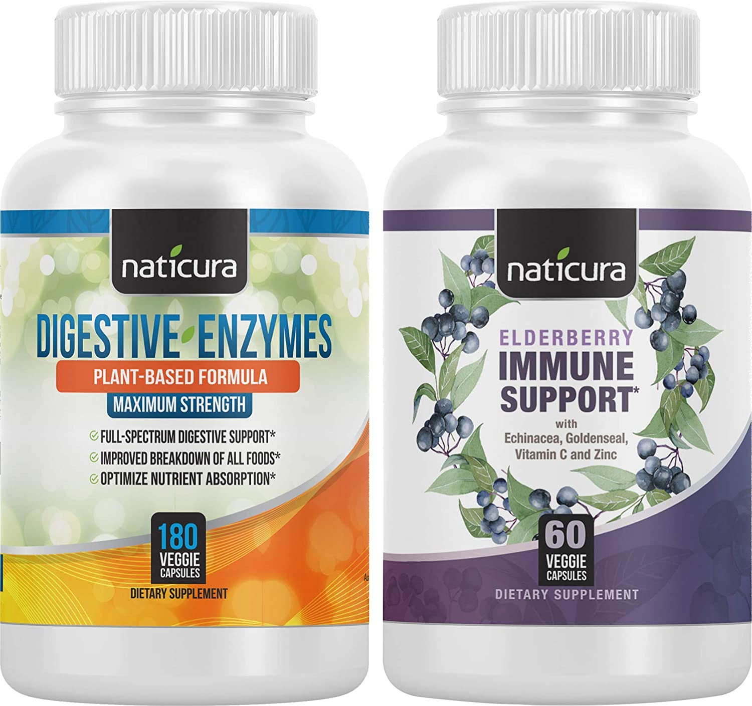 Naticura: Digestive Enzymes with Probiotics & Prebiotics (180 ct) and Elderberry Immune Support (60 ct) Bundle - Daily Supplements for Men and Women - Digestive and Immune Support - Made in The USA