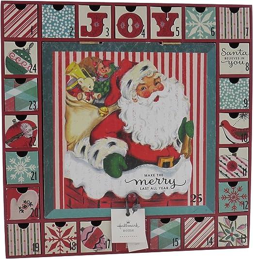 Amazon Com Hallmark Home Vintage Inspired 1950s Santa Drawer Advent Calendar Home Kitchen