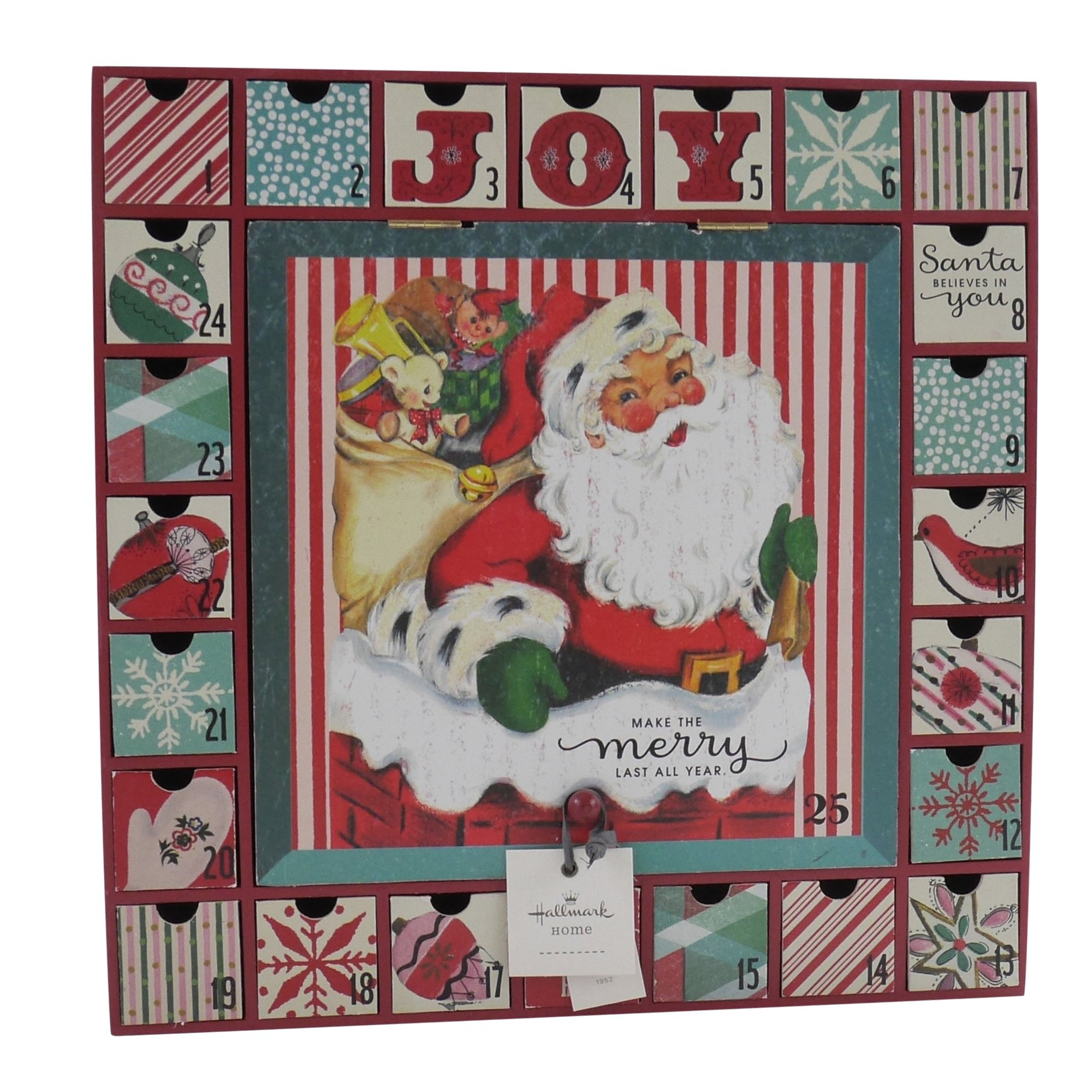 Hallmark Home Vintage Inspired 1950s Santa Wood Drawer Advent Calendar by Hallmark Home (Image #1)