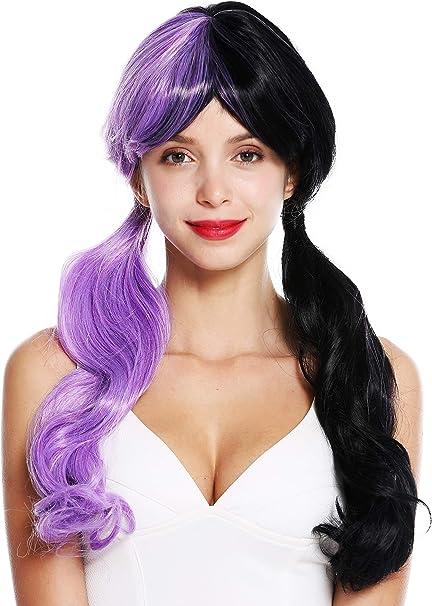 WIG ME UP- GFW3011 peluca mujer cosplay pelo largo trenzas flequillo mitad color lila claro mitad color negro: Amazon.es: Belleza