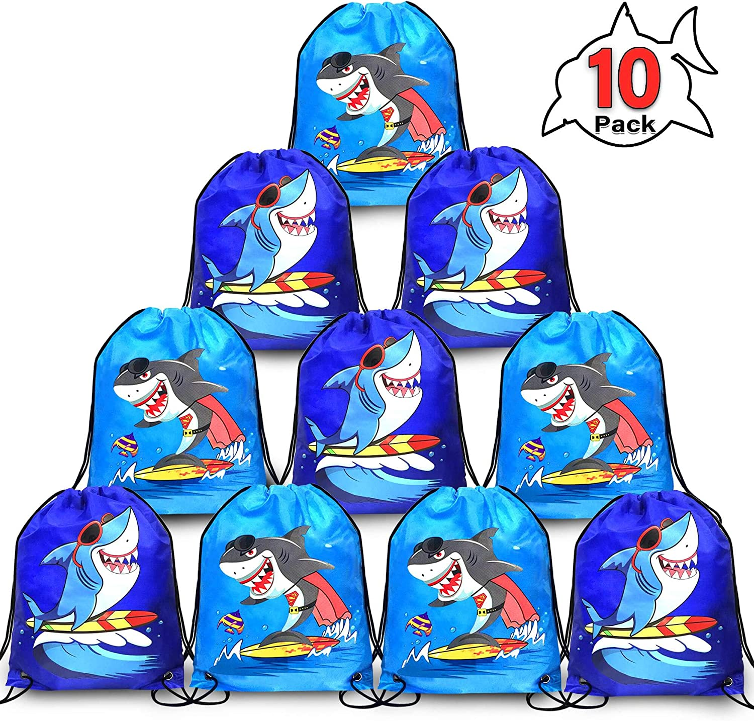 Grier 10Pack Cute Shark Party Supplies Favors Goodie Bags for Kids Boys Girls,10x12Inch Shark Drawstring Backpack Goodie Treat Bags Storage Backpack Birthday Party Favors