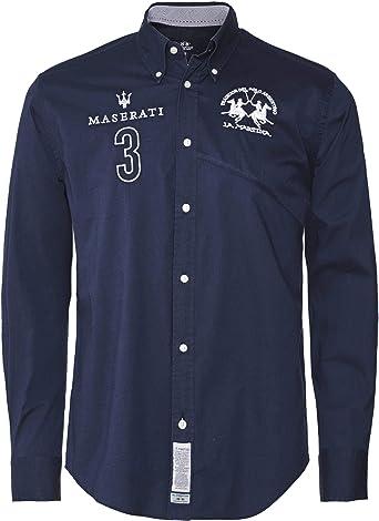 La Martina Hombres Camisa Fit Ollolai Regular Marina De Guerra XL ...