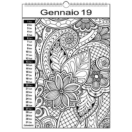 Calendario 2019 Da Colorare Mandala Amazonit Cancelleria E