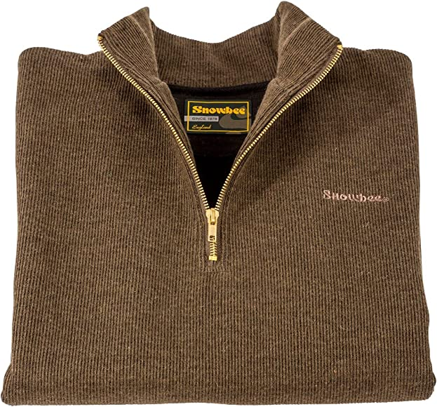 Snowbee Men Country 14 Zip Sweater Olive Green, Large