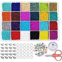 Cuentas de Colores 24000 piezas Abalorios para Hacer Pulseras, 24 Colores Conjunto de Cuentas de Colores con Alfabeto…