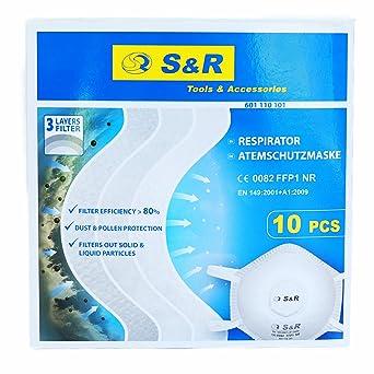 S&R Mascarillas Antipolvo Desechables FFP1. Contra Polvo Pintura Particulas: Amazon.es: Industria, empresas y ciencia