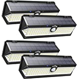 LITOM 122 LED Solar Lights Outdoor, 3 Sense Modes Auto Motion Sensor Lights with Front Switch, Indicator Lights, IP67 Waterproof Solar Security Light for Door, Garden, Deck, Porch-4 Pack