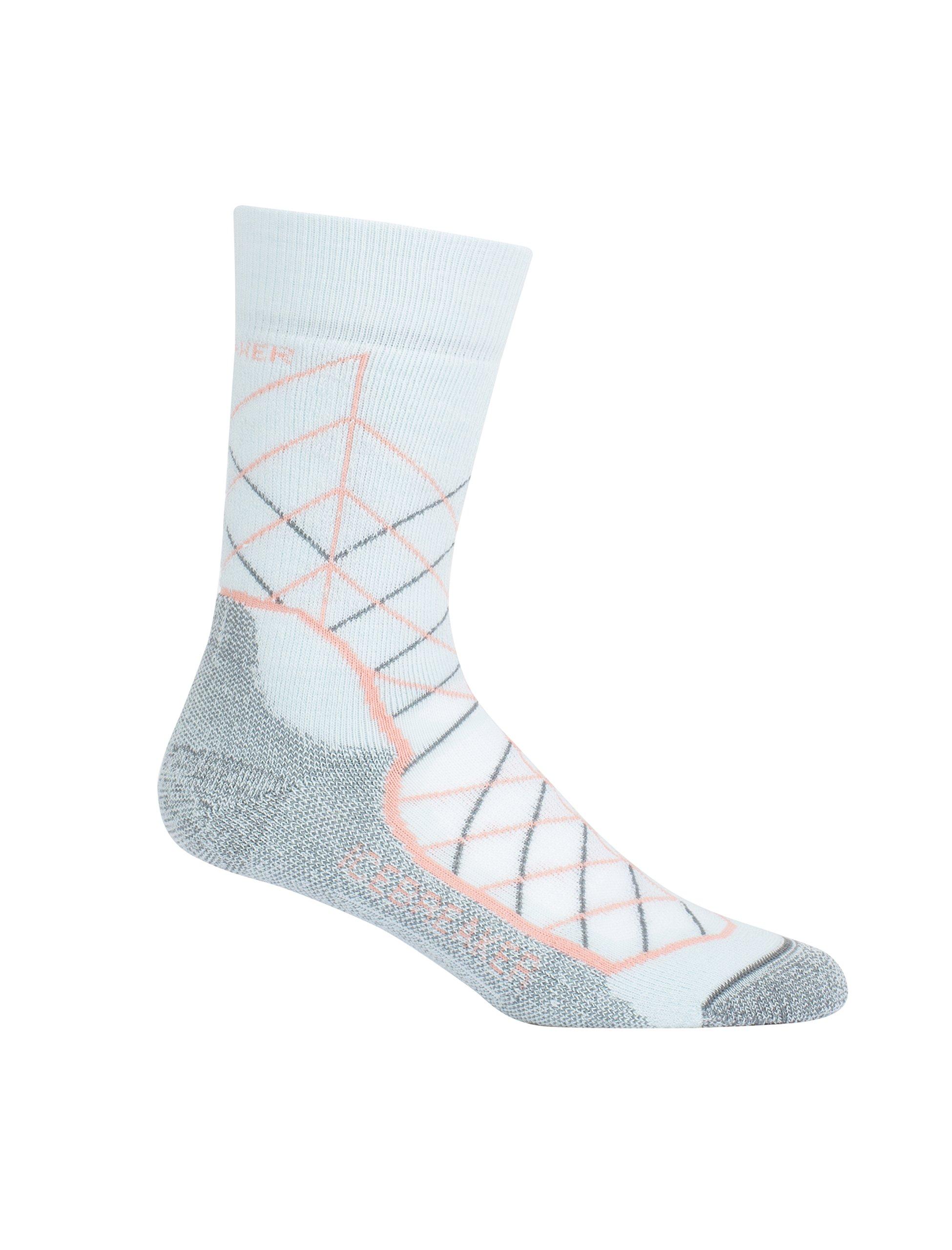 Icebreaker Merino Women's Hike+ Medium Crew Metric Pattern Socks, Metric/Dew/Sorbet/Metal, Large by Icebreaker Merino