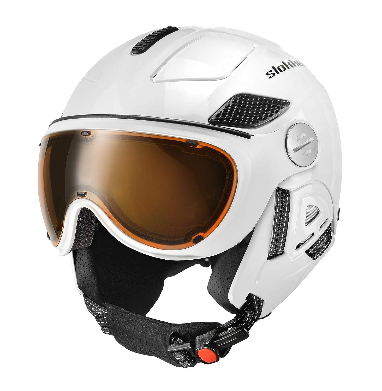 Slokker Raider Pro White Skihelm Snowboardhelm Ski Visierhelm Helm Snowboard optimal für Brillenträger (58-60)