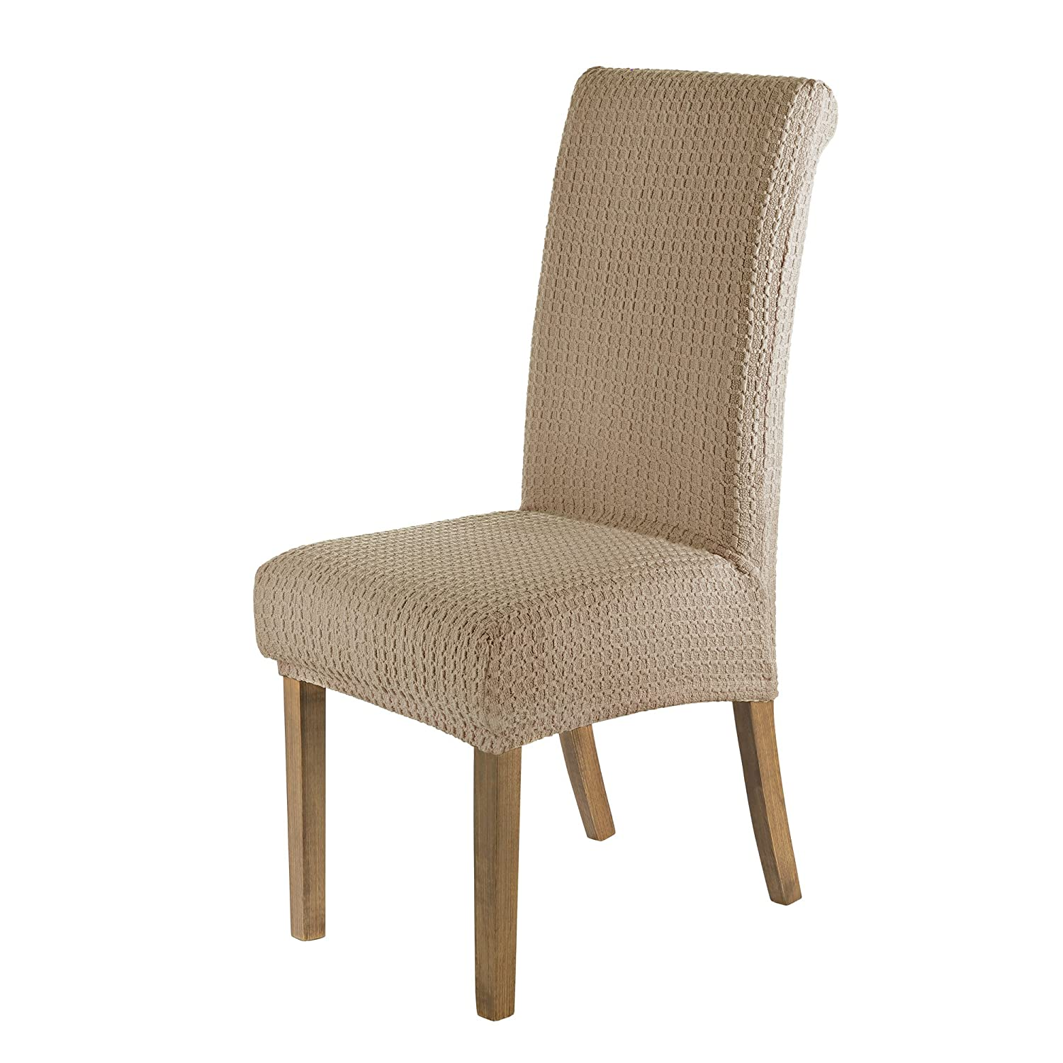 SCHEFFLER-HOME Jacquard Lea Chair Covers for Dining Room 2 Pcs, Stretch Chaircover, Elastic Slipcover, Decor Cover with Elastic Band, universal Fitting, Spandex Covers for Home - Beige Manufactured in Germany