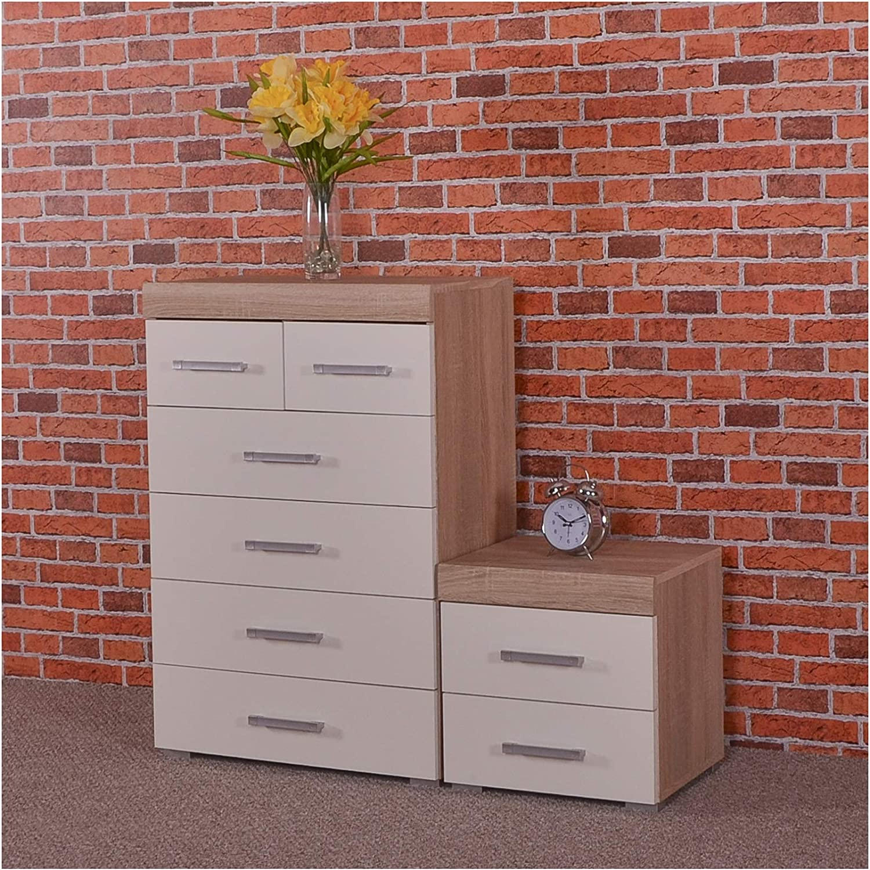 DRP Trading White /& Sonoma Oak 4+2 Drawer Chest /& 2 Drawer Bedside Cabinet Bedroom Furniture 6 Draw