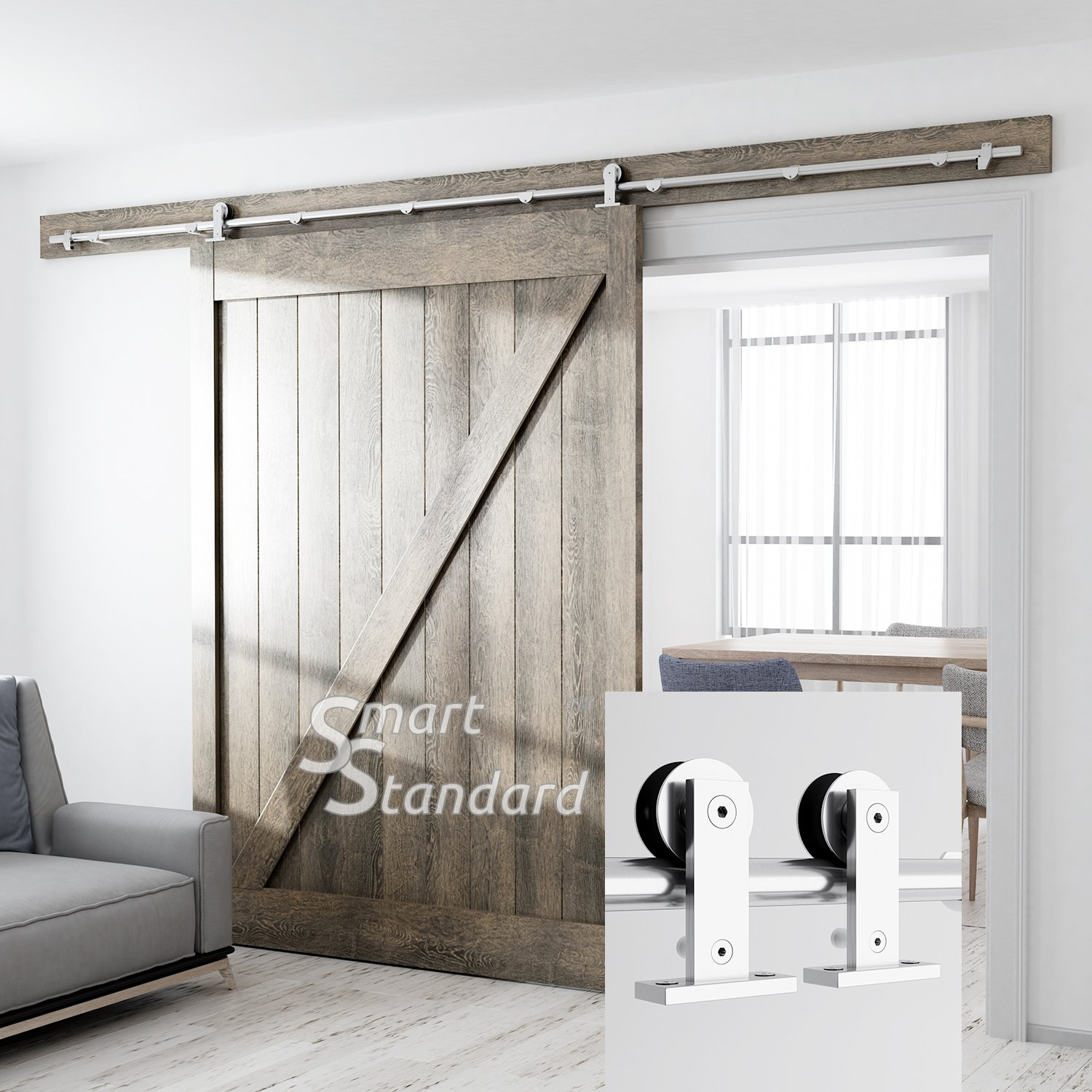10ft Heavy Duty Sturdy Sliding Barn Door Hardware Kit - Super Smoothly and Quietly - Simple and Easy to Install - Includes Step-by-Step Installation Instruction -Fit 60'' Wide Door Panel