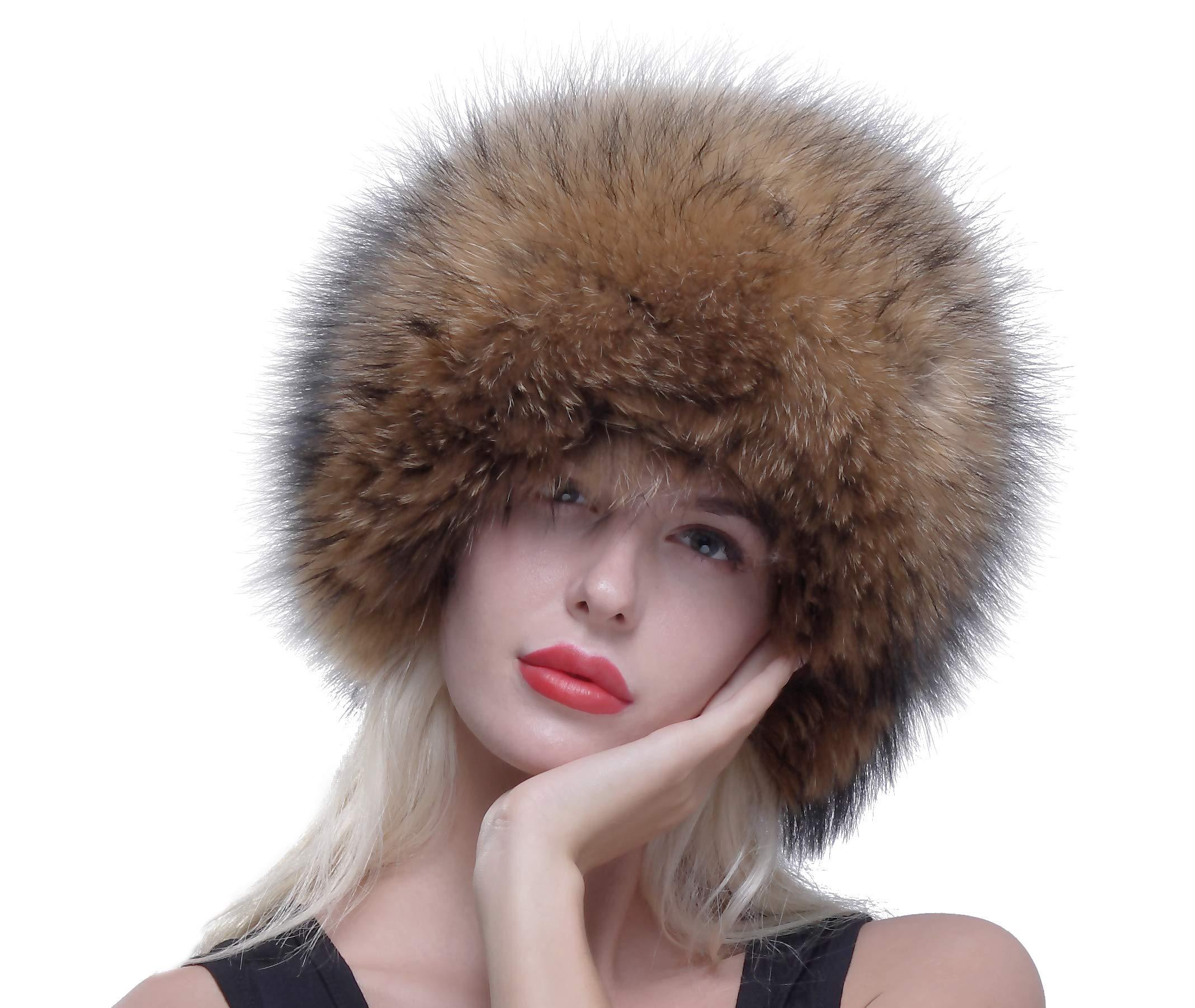 URSFUR Russian Winter Cap Real Raccoon Fur Ushanka Trapper Hat with Fur Tail by URSFUR