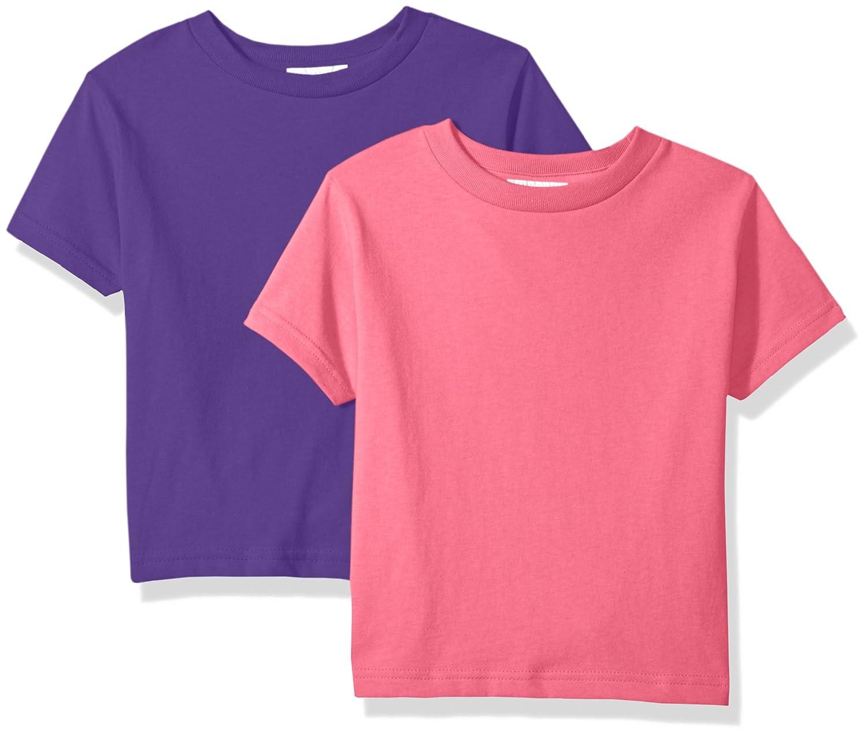 5//6 Clementine Unisex Baby Boy Everyday Short Sleeve Toddler T-Shirts Crew 2-Pack PURPLE//RASPBERRY