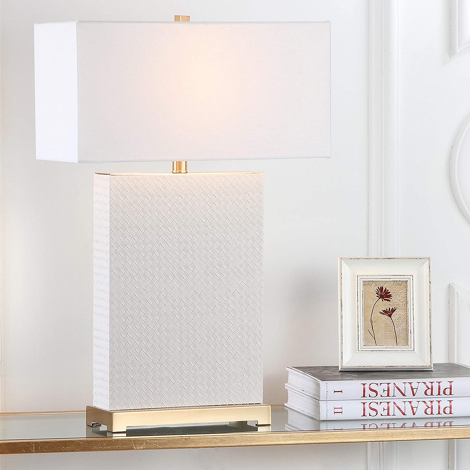 Safavieh Lighting Collection Joyce Cream And Gold Faux Woven Leather 27 75 Inch Table Lamp Set Of 2 Amazon Co Uk Kitchen Home