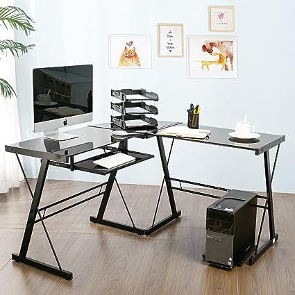 Modern Luxe By Merax Glass L Shaped Corner Desk Office Modern Home Computer  Desk Multi