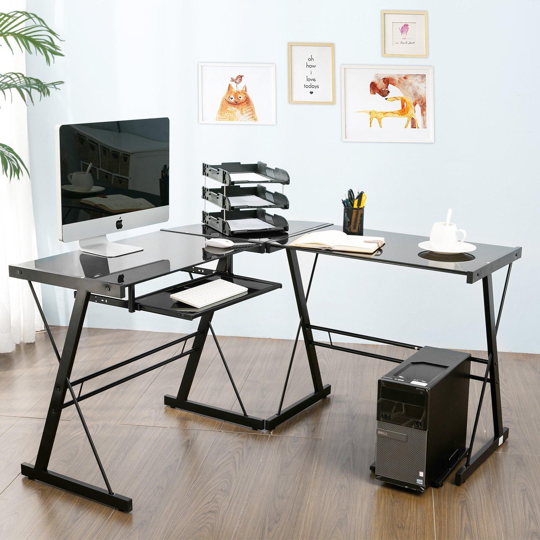 Modern Luxe by Merax Glass L-shaped Corner Desk Office Modern Home Computer Desk Multi Function Desk PC Laptop Table Workstation, Black
