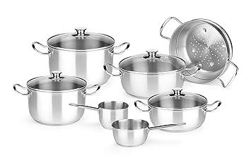 Monix Chef - Menaje de 7 piezas de acero inoxidable 18/10, apta para todo tipo de cocinas incluídas de inducción: Amazon.es: Hogar
