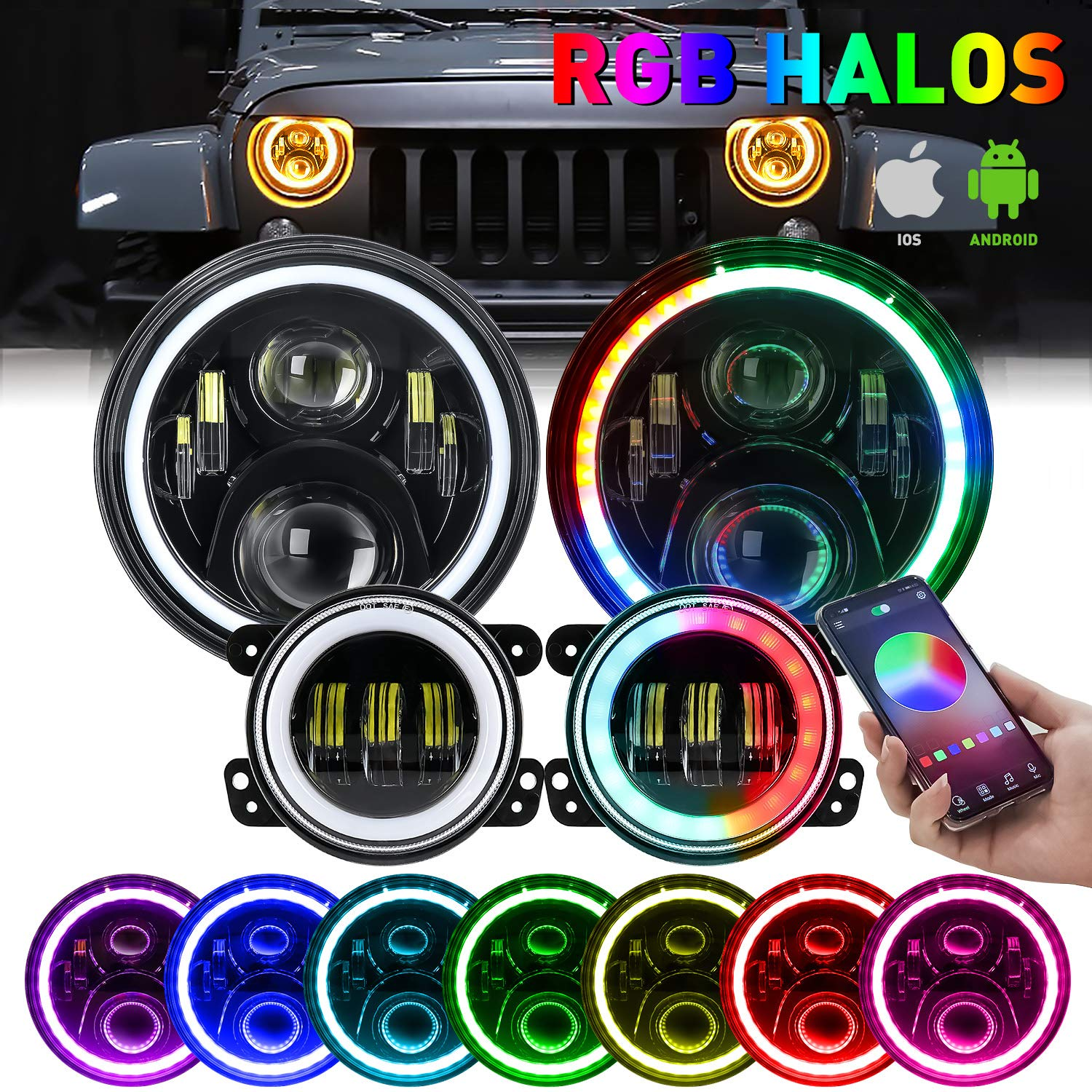 "7'' LED Halo Headlights RGB Angle Eye w/ 4"" LED Fog Lights Combo for Jeep Wrangler"