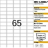 Mr-Label® étanches Etiquettes adhésives amovibles - durables autocollants indéchirables pour Cuisine utilisation   maisons de ventes   Fabrication et stockage   Organisation et dépôt (Taille: 23.2*38.1mm) (25 feuilles / totalement 1625 étiquettes)